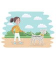 little girl and a dog walking vector image vector image