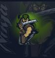 mascot logo ninja in an attacking pose on a dark vector image