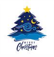 merry christmas art pine tree vector image