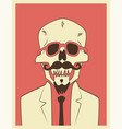 mexican day dead skull hipster character vector image