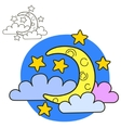 Moon with stars and clouds Coloring book page vector image vector image