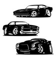 muscle cars cartoons silhouette set vector image