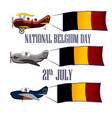 nayional day of belgium set with three planes and vector image vector image