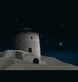 night landscape with old fortress and the vector image vector image