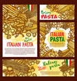 pasta sketch posters for italian restaurant vector image vector image