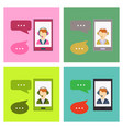 phone call button on smartphone screen hand vector image vector image