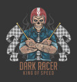 racer skull rider with tattoo artwork vector image