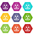 radiation icons set 9 vector image vector image