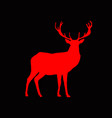 red silhouette of reindeer with big horns vector image vector image