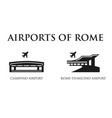 rome airport symbols vector image