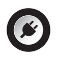 round black white icon - electrical plug symbol vector image