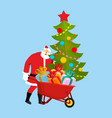 santa claus wheelbarrow and gifts xmas grounds vector image vector image