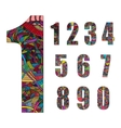 Set of number with hand drawn abstract doodle vector image vector image