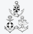 set of stylized ship anchors linear art vector image vector image