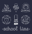 set of vintage back to school labels retro vector image