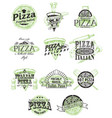 set vintage pizza badges labels logos vector image