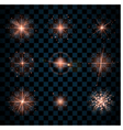 Shine pink stars glitters sparkles icons vector image