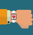 smart watch medical monitoring app concept vector image vector image