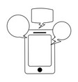 smartphone with chat bubbles in black and white vector image vector image