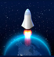 space red rocket launch creative art vector image vector image