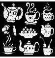 tea cups icons vector image vector image