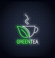 tea green cup neon sign concept design vector image vector image