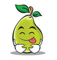 tongue out pear character cartoon vector image vector image