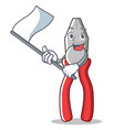 with flag pliers character cartoon style vector image vector image