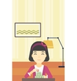 Woman building pyramid of network avatars vector image vector image