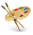 wooden artist palette with paint brushes vector image