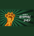 world animal day concept wild cat paw raised up vector image vector image