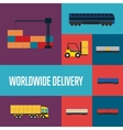 Worldwide delivery icon set vector image vector image