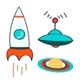 Set of space objects icons Outer space rocket vector image