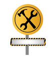 color road sign with hammer and wrench and banner vector image