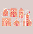 gingerbread houses set cute hand drawn honey vector image