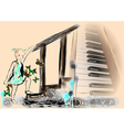 little girl and piano vector image