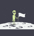 alien on moon with flag vector image vector image