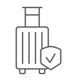 baggage insurance thin line icon protection and vector image vector image