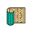 bamboo sushi mat flat color line icon isolated on vector image vector image