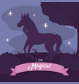 beautiful and magic unicorn cartoon vector image
