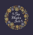 big winter sale inscription in frame of snowflakes vector image vector image