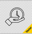 black line clock icon isolated on transparent vector image vector image