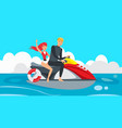 boy and girl riding jet ski vector image vector image