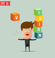 Business man throw business box stacking - - vector image vector image