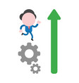 businessman character running on gears and arrow vector image