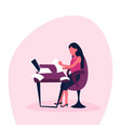 businesswoman using laptop computer sit office vector image