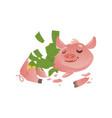 cartoon broken piggy bank with money vector image vector image