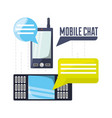 cellphones with chat bubbles communication vector image vector image