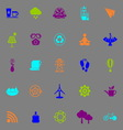 Clean concept icons fluorescent color on gray vector image