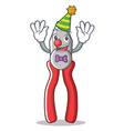 clown pliers character cartoon style vector image vector image